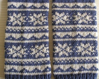Gaiters blue and white jacquard