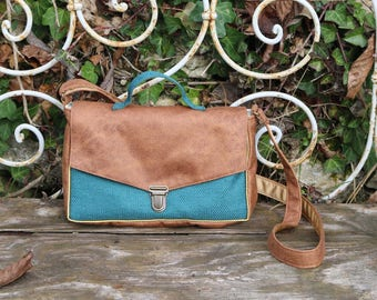 Satchel handbag faux leather and turquoise