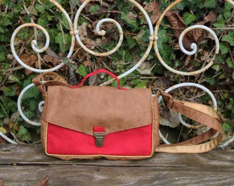 Satchel handbag faux leather and carmine red