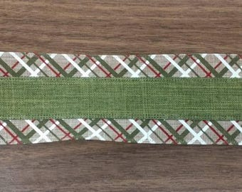 "FREE SHIPPING- 2.5"" Wired Natural Linen White Green and Red Color Block Check Christmas Ribbon - 5 Yards"