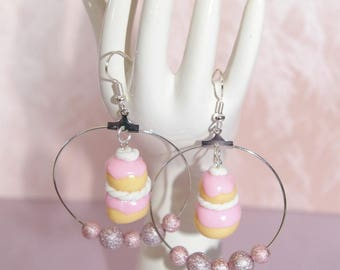 hoop earrings pink polymer clay