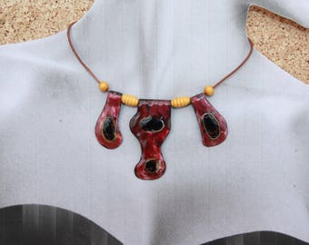 enamel on copper leather cord necklace