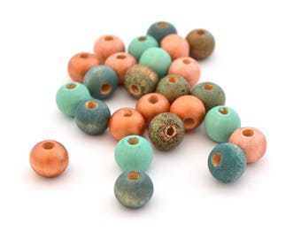 Mix of 25 pink copper, blue, mint green and copper beads wood 8 mm round