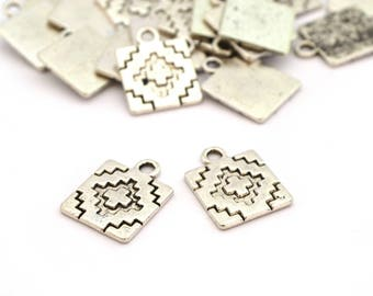 2 silver square charm style Ikat metal 18mm