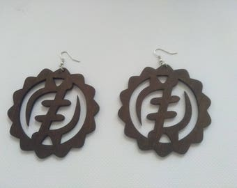 Gye Nyame Afro Wood Earrings