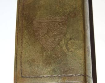 Antique Brass Book Design Matchbox Holder