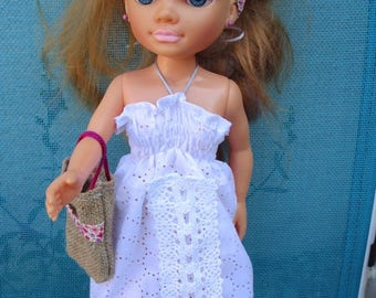 Doll clothes for Nancy white perforated cotton and lace dress