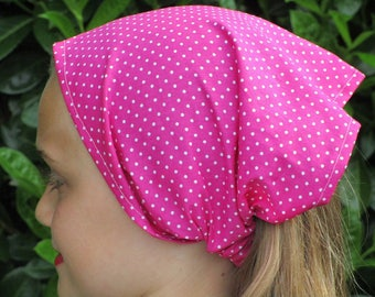HEADSCARF / cotton scarf pink with small white dots for girl