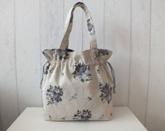 """Purse from linen and cotton printed """"YUWA"""" Purple vibe flowers fall."""