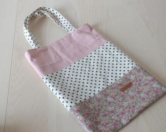 "Tote bag / tote bag in linen and cotton YUWA patchwork ""Spring"""
