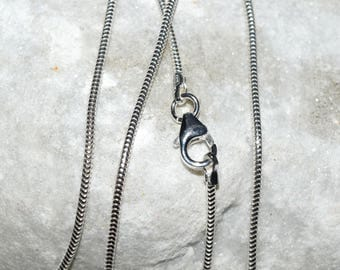 Necklace silver snake 925 St. - soft - with clasp and end caps - diameter 1.20 mm-long. 50cm - silver