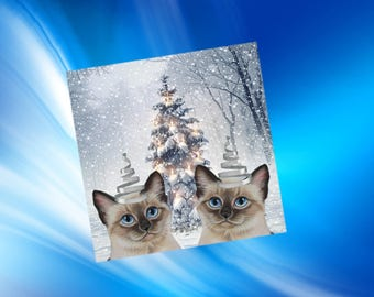 Cat greeting card: our Christmas hats