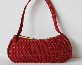 Purse red cloth yellow and Brown embossed rectangles and squares