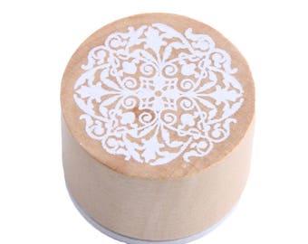 1 X wooden round stamp motif lace n ° 6
