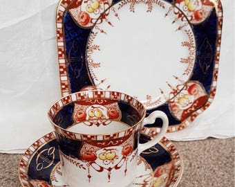 Antique Royal Vale Longton Imari fruits and flowers pattern trio - 3702-teacup, saucer and side plate.