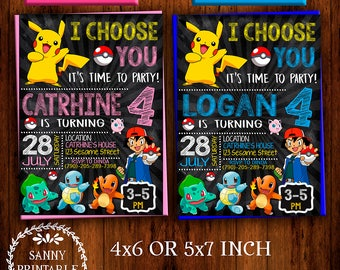 Pokemon Go Invitation, Pokemon Invitation, Pokemon Birthday, Pokemon Party, Pikachu Invitation, Pikachu Birthday, Pokemon Printable