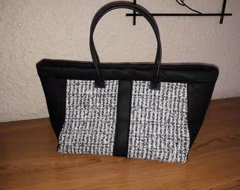 Large handbag or Tote in tweed and felt