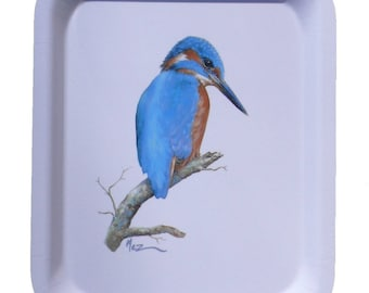 "adorned with melamine tray MEZ deMEZERAC painter ""Kingfisher"""