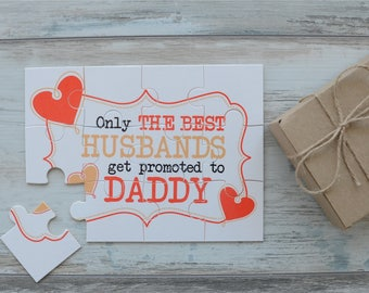 Pregnancy Announcement to Husband, Pregnancy Reveal Puzzle, Only The Best Husbands Get Promoted To Daddy Pregnancy Announcement Puzzle