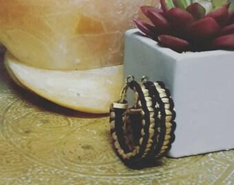 Black & Gold Macramé Braid Hoop Earrings