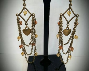 Earrings bronze chains and faceted