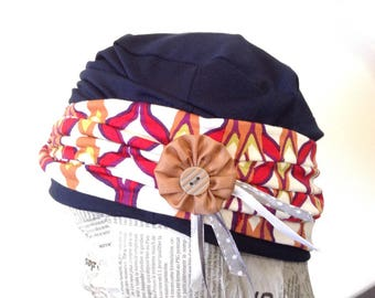 Navy Blue Jersey Cap and its ethnic Jersey headband, removable pin