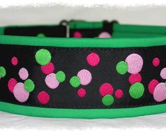 """Dog collar Jacquard ribbon in unique colourful """"bubble"""" sport style"""