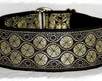 Dog collar #Golden eyes# Jacquard ribbon with unique colourful ornaments, Elegant design