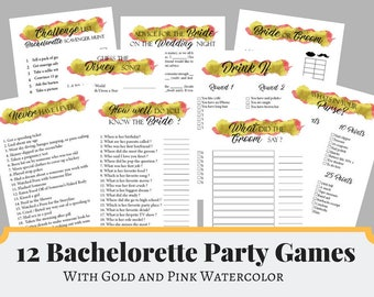 Gold and Pink Bachelorette Party Games, Bridal Shower Games, Hens Night Games, Gold Printable Games, Gold Party Planner, Party Planning