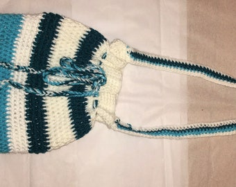 Handmade Knit Purse (white,teal,blue)
