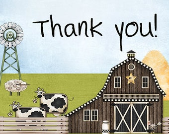Farm Theme Baby Shower Thank You Cards – Thank You Cards – Baby Thank You – Shower Thank you – Digital Thank You Card