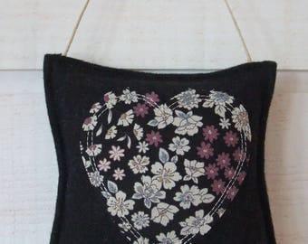 Liberty (No.17) black heart & door felt cushion