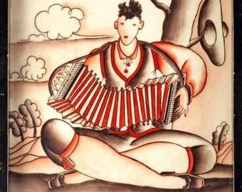 Gio Ponti for Richard Ginori, an Art Deco ceramic tile, 'Il Suonatore Stanco'