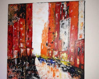 painting urban city, New York hot colors