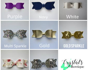 """Large Faux leather Bow (3.5"""" x 1"""")"""
