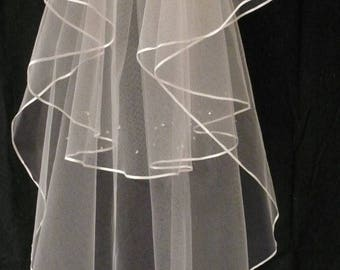 Wedding Veil, 2-tiered Satin-Edged with clear beads (or Swarovski crystals) on Blusher Veil