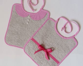 Bibs, baby pink and gray set of two