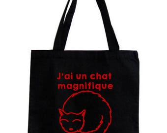 Tote bag / grocery bag I have a beautiful, 100% cotton, high hanse, black cat.
