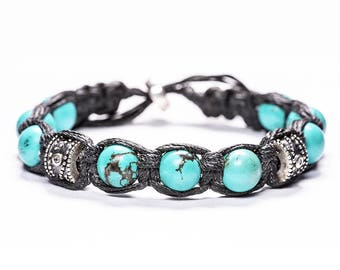 Turquoise Stones With 925 Silver Beads Karool Bracelet