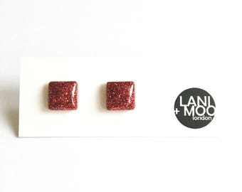 Square Red Glitter Resin Stud Statement Earrings!