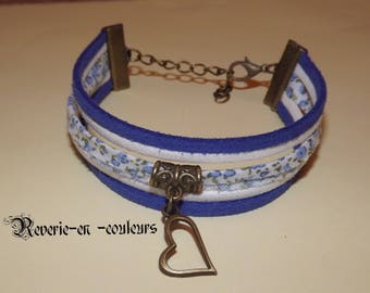 liberty blue bracelet, suede cord, blue and white
