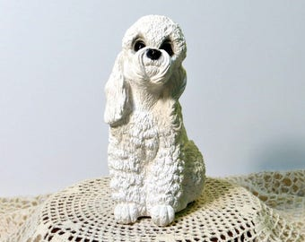 Adorable White Poodle Puppy Dog   Classic Critters 1984 United Design   Vintage Sitting White Poodle   Glass Eyes   Resin   Collectible