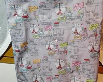 Coated fabric foldable shopping bag