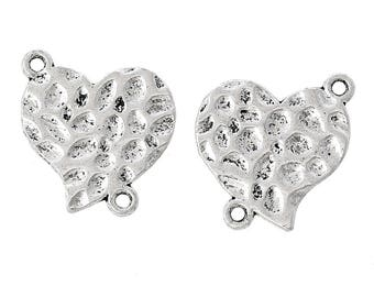 x 2 23 mm hammered silver plated heart connectors.