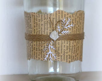 Antique book page, Twine and fabric flower glass vase
