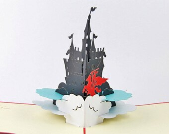 Handmade 3D pop up Castle knight prince horse fairy tale cartoon disney fantasy birthday Valentines Easter wedding father's day card for him
