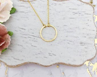 Gold Circle Dainty Necklace