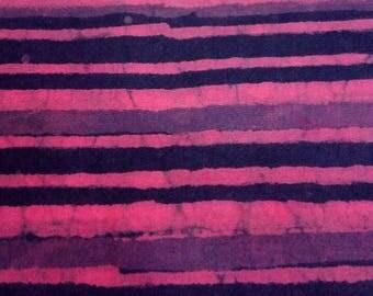 Natural Hand Block Stripe Print Indian Purple Cotton Block Print Fabric by Yard