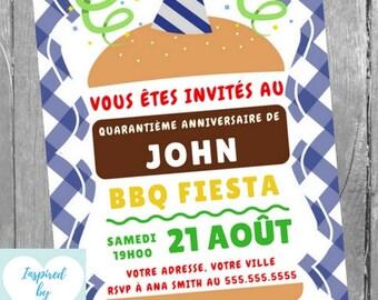 Invitation de BBQ pour fête d'anniversaire homme - Invitation d'anniversaire - Téléchargement Instantané - Invitation à Personnaliser