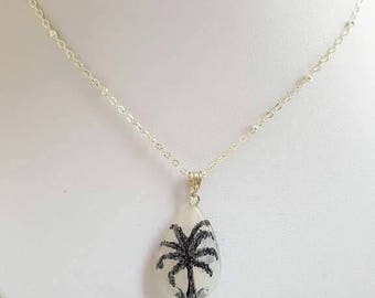Quartz pendant, water drop, painted Palm tree, sterling silver chain